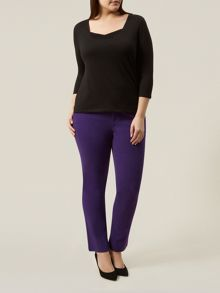 Purple Stretch Cotton Trousers
