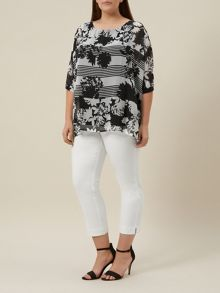 Plus Size Black And Ivory Stripe Top