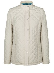 Short Zip Off Quilted Coat