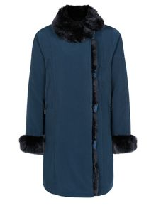 Jacques Vert Fur Placket & Collar Jacket