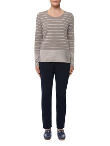 3/4 Sleeve Simple Stripe Scoop Neck