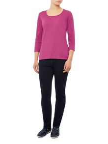 3/4 Sleeve Fuschia Scoop Neck Jersey Top