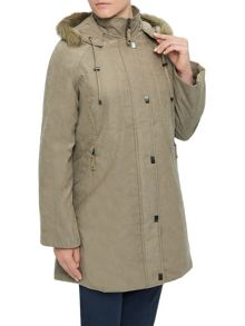 Eastex Long hooded raincoat stone