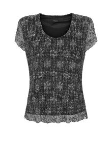 Printed Bubble Lace Top