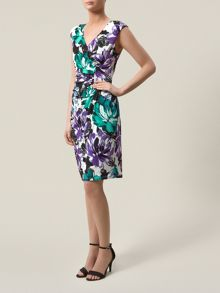 Floral print ity prom dress