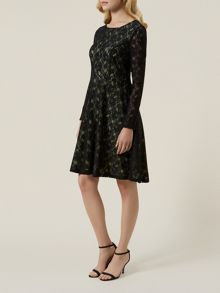 Contrast Lining Lace Skater Dress