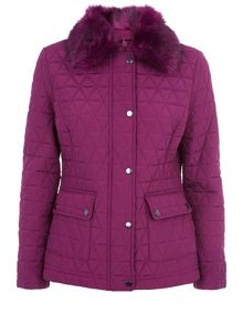 Precis Petite Short Fur Collar Quilted Coat