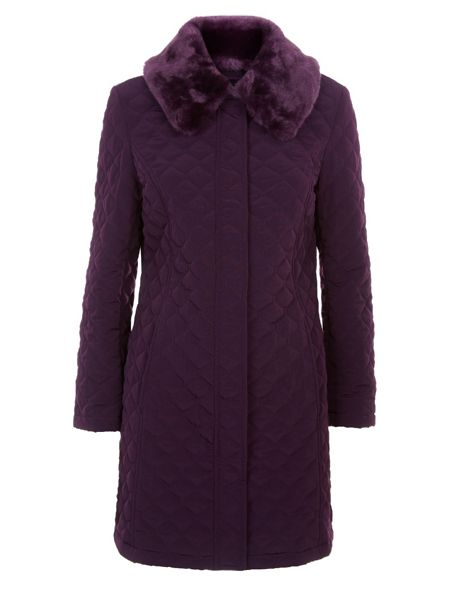 Precis Petite Long Faux Fur Quilted Coat