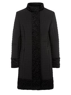 Precis Petite Long Faux Fur Nylon Coat