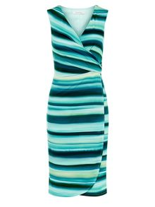 Kaliko Stripe Wrap Jersey Dress