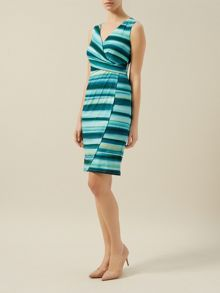 Stripe Wrap Jersey Dress