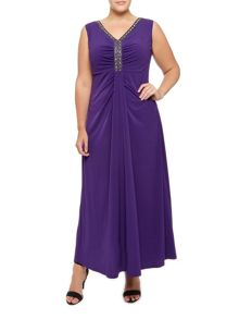 Purple Embellished Maxi Dress