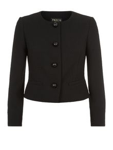 Precis Petite Collarless textured jacket