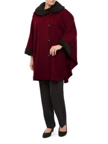 Astrakhan Trim Cape - Unlined