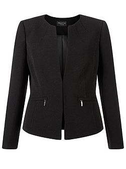 Collarless zip detail jacket