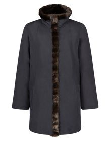 Jacques Vert Mid Length Funnel Neck Fur Tri