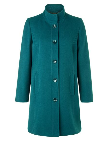 Eastex Teal funnel neck coat