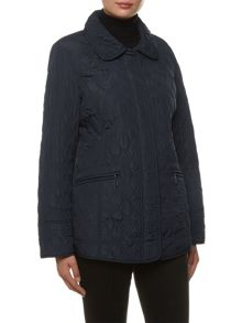 Windsmoor Short Navy Argyle Quilt Coat
