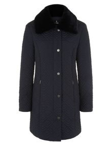 Mid Navy Deco Quilt Coat