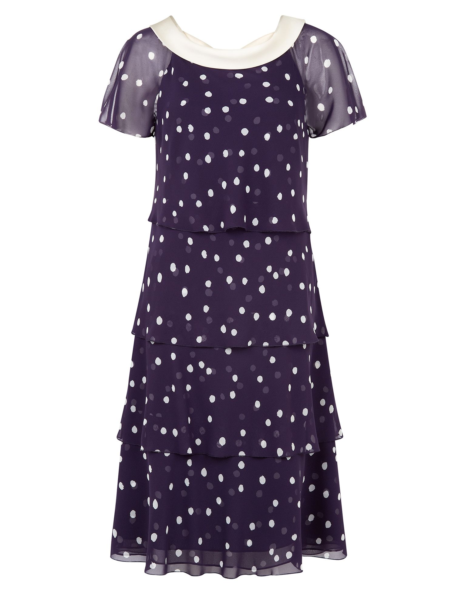 Jacques Vert Petite Spot Print Tiered Dress $79.00 AT vintagedancer.com
