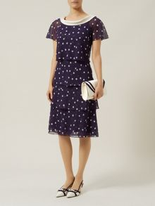 Jacques Vert Petite Spot Print Tiered Dress