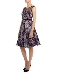 Shadow leaf print flock dress