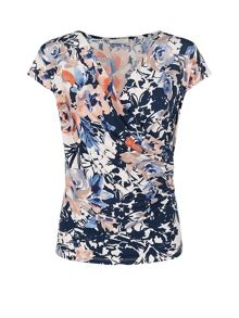 Floral Wrap Jersey Top