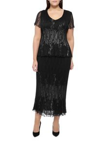 Black Lace Crinkle Skirt