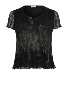 Black Lace Crinkle Top