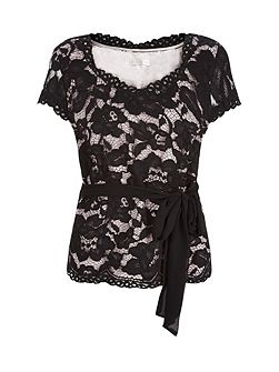 Opulent Lace Belted Top
