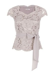 Petite Opulent Lace Belted Top