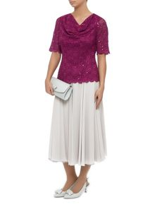 Lace Jersey Drape Front Top