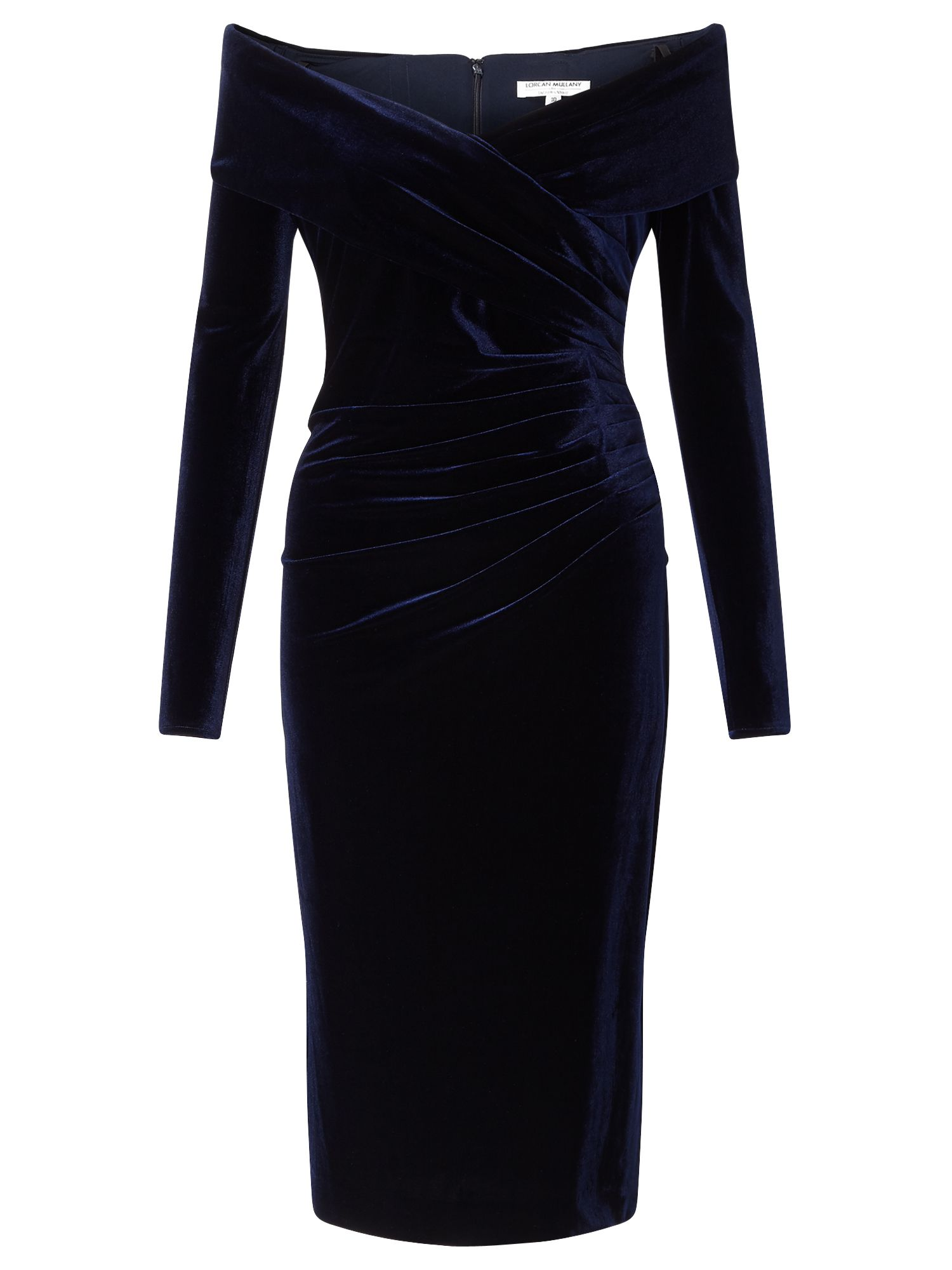 Jacques Vert Velvet Bardot Cocktail Dress Blue £299.00 AT vintagedancer.com