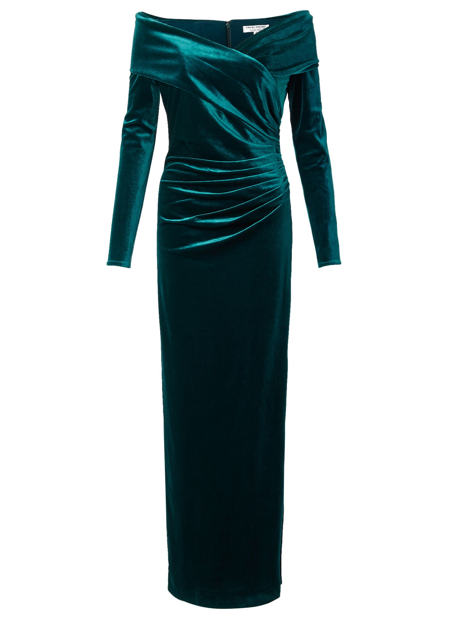 Jacques Vert Velvet Bardot Long Dress Green £399.00 AT vintagedancer.com
