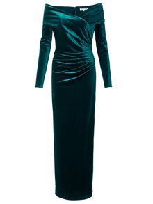 Velvet Bardot Long Dress