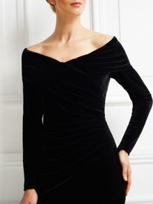 Jacques Vert Velvet Bardot Long Dress