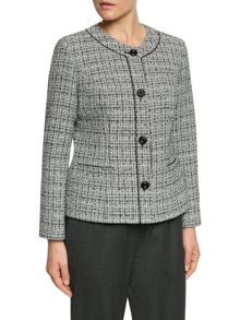 Eastex Piped Round Neck Tweed Jacket