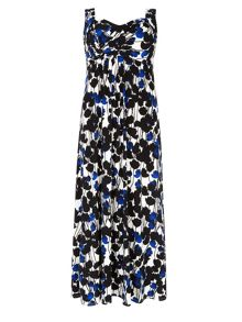 Plus Size Flower Print Maxi Dress