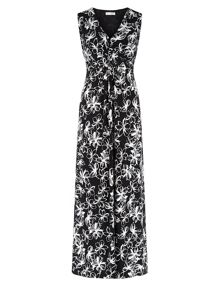 Plus Size Mono Flower Print Maxi Dress