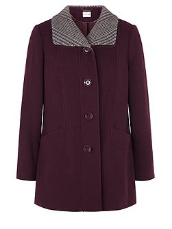 Plum Check Collar Coat