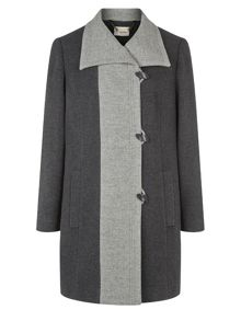 Charcoal Contrast Tipped Coat