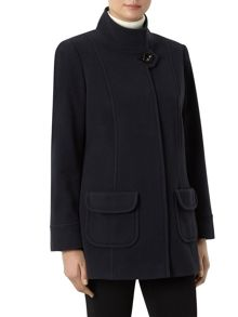 Navy Funnel Short Wool Coat