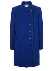 Cobalt Funnel Mid Wool Coat