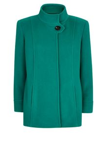 Green Funnel Short Wool Coat