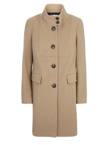 Camel Funnel Mid Wool Coat