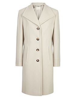 Winter White Mid Wool Coat