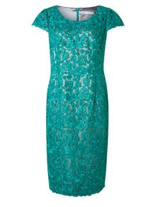 Corded Lace Two Tone Dress