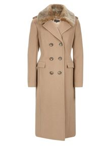 Planet Camel Faux Fur Collar Coat