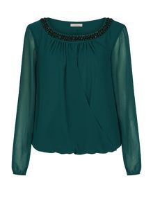 Embroidered Neckline Blouse