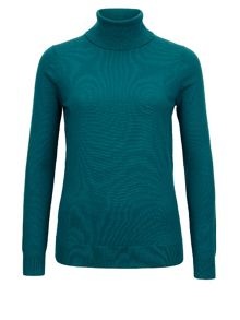 Teal Knit Roll Neck